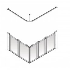 AKW Option EW5 750 Shower Screen 1200mm x 820mm - Right Handed
