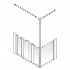 AKW Option K 750 Shower Screen 1470mm x 750mm - Left Handed