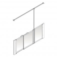 AKW Option X 900 Shower Screen 1420mm x 700mm - LH Silverdale Frosted
