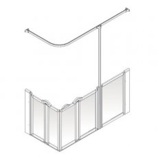 AKW Option X 750 Shower Screen, 1420mm x 700mm, Right Handed