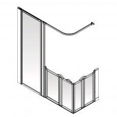 AKW Option XF 900 Shower Screen 1800mm x 700mm - Left Handed