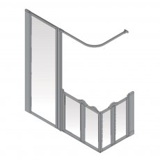 AKW Option XF 900 Shower Screen 1800mm x 700mm - LH Silverdale Frosted