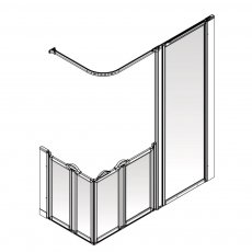 AKW Option XF 900 Shower Screen 1800mm x 820mm - Right Handed