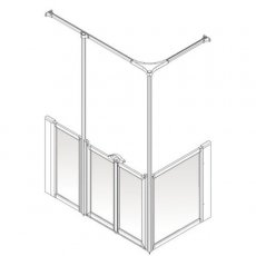 AKW Option Y 750 Shower Screen, 1300mm x 700mm, Left Handed