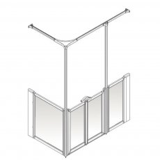 AKW Option Y 750 Shower Screen 1470mm x 750mm - Right Handed