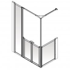 AKW Option Y 900 Shower Screen 1800mm x 700mm - Left Handed