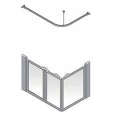 AKW Silverdale Clear Option A 900 Shower Screen, 1300mm x 700mm, Left Handed