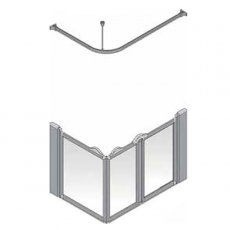 AKW Silverdale Frosted Option A 750 Shower Screen, 1200mm x 700mm, Right Handed