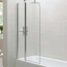 April Identiti2 Standard Bath Screen with Fixed Panel 1400mm High x 900mm Wide 6mm Glass
