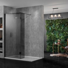 Aquadart Wet Room Panel 1400mm Wide - 10mm Smoked Glass