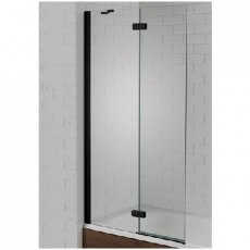 Aquadart Venturi 6 LH Black Frame Hinged Bath Screen 1500mm High x 900mm Wide - 6mm Glass