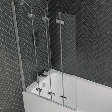 Aquadart Venturi 6 Frameless Four Fold Bath Screen 1500mm H x 965mm W Left Handed - 6mm Glass