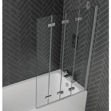 Aquadart Venturi 6 RH Frameless 4-Folding Bath Screen 1500mm High x 965mm Wide - 6mm Glass