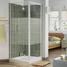 Aqualux AQUA 3 Pivot Door Shower Enclosure 800mm x 800mm White Frame Stripe Glass