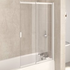 Aqualux AQUA 4 2-Panel Slider Bath Screen, 820mm Wide, White Frame, Clear Glass