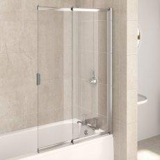 Aqualux AQUA 4 Two Panel Silver Frame Slider Bath Screen 1275mm H x 820mm W - 4mm Glass