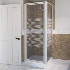 Aqualux AQUA 4 Pivot Door Shower Enclosure 800mm x 800mm White Frame - Modesty Glass