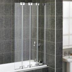 Aqualux AQUA 6 Four Fold Silver Frame Bath Screen 1500mm H x 850mm W - 6mm Glass