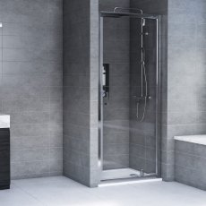 Aqualux AQX 6 Pivot Shower Door 800mm Wide Silver Frame 6mm Glass