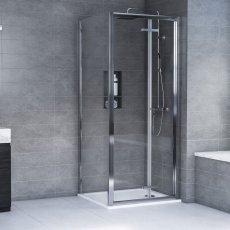 Aqualux AQX 6 Bi-Fold Door Shower Enclosure 760mm x 760mm Silver Frame - 6mm Glass