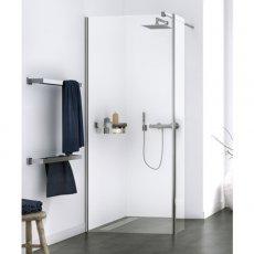 Aqualux Origin Walk-In Shower Panel with Splash Panel Kit 900mm Wide - 8mm Clear Glass