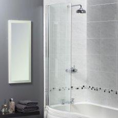 Aqualux Shine 6 Half-Frame Curved Bath Screen, 720mm Wide, Silver Frame, 6mm Clear Glass