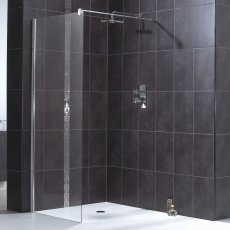 Aqualux Shine 6 Wet Room Shower Panel, 800mm Wide, 6mm Clear Glass
