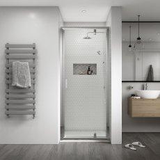 Aqualux Shine 8 Semi Frameless Pivot Shower Door 900mm Wide Silver Frame - 8mm Glass
