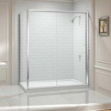 Aquashine Sliding Shower Door 1100mm Wide - Clear Glass