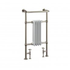 Arcade Bruton Traditional Radiator Heated Towel Rail 950mm H x 497mm W - White/Nickel