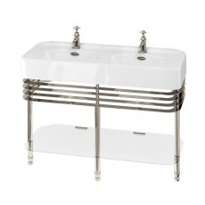 Arcade Double Basin 1200mm Wide and Stand with Glass Shelf - 1 Tap Hole