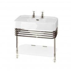 Arcade Basin 900mm Wide and Stand with Glass Shelf - 2 Tap Hole