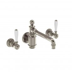 Arcade 3-Hole Wall Mounted Basin Mixer Tap with White Ceramic Lever - Nickel