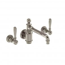 Arcade 3-Hole Wall Mounted Basin Mixer Tap with Brass Lever - Nickel