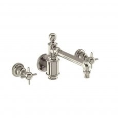 Arcade 3-Hole Wall Mounted Basin Mixer Tap with Tap Handle - Nickel