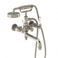 Arcade Wall Mounted Bath Shower Mixer Tap with White Ceramic Lever - Nickel
