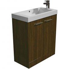 Arley Evora Floor Standing Vanity Unit with Basin 700mm Wide - Walnut