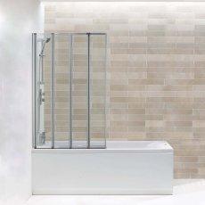 Arley Hydro Four Panel Folding Square Bath Screen 1400mm High x 800mm Wide - 4mm Glass