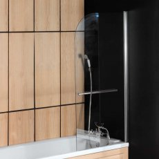 Arley Ralus6 Single Curved Bath Screen with Towel Rail 1400mm High x 800mm Wide - 6mm Glass