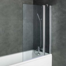 Arley Ralus6 Two Panel Square Bath Screen 1400mm High x 1000mm Wide - 6mm Glass