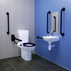 Armitage Shanks Contour 21 Doc M Pack with Close Coupled Toilet and Blue Rail - Right Handed