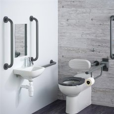 Armitage Shanks Contour 21 Doc M Pack with BTW Toilet and Grey Rails - Left Handed