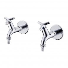 Armitage Shanks Nimbus 21 Bib Taps Pair with Hose Union Outlet - Chrome