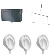 Armitage Shanks Sanura Hygeniq 3 Urinal Pack with Concealed Auto Cistern