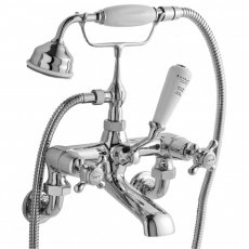Bayswater Crosshead Dome Wall Mounted Bath Shower Mixer Tap White/Chrome