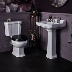 Bayswater Fitzroy Bathroom Suite Close Coupled Toilet and Basin 595mm 2 Tap Hole
