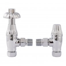 Bayswater Fluted Angled Thermostatic Radiator Valves Pair and Lockshield Chrome