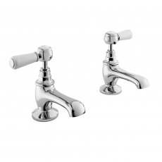 Bayswater Lever Dome Basin Taps Pair White/Chrome