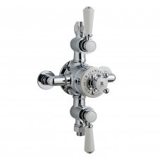Bayswater Traditional Triple Exposed Shower Valve White/Chrome