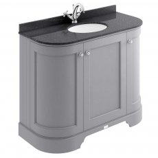 Bayswater Plummett Grey 3-Door Curved Vanity Unit 1000mm Wide (Excluding Basin)